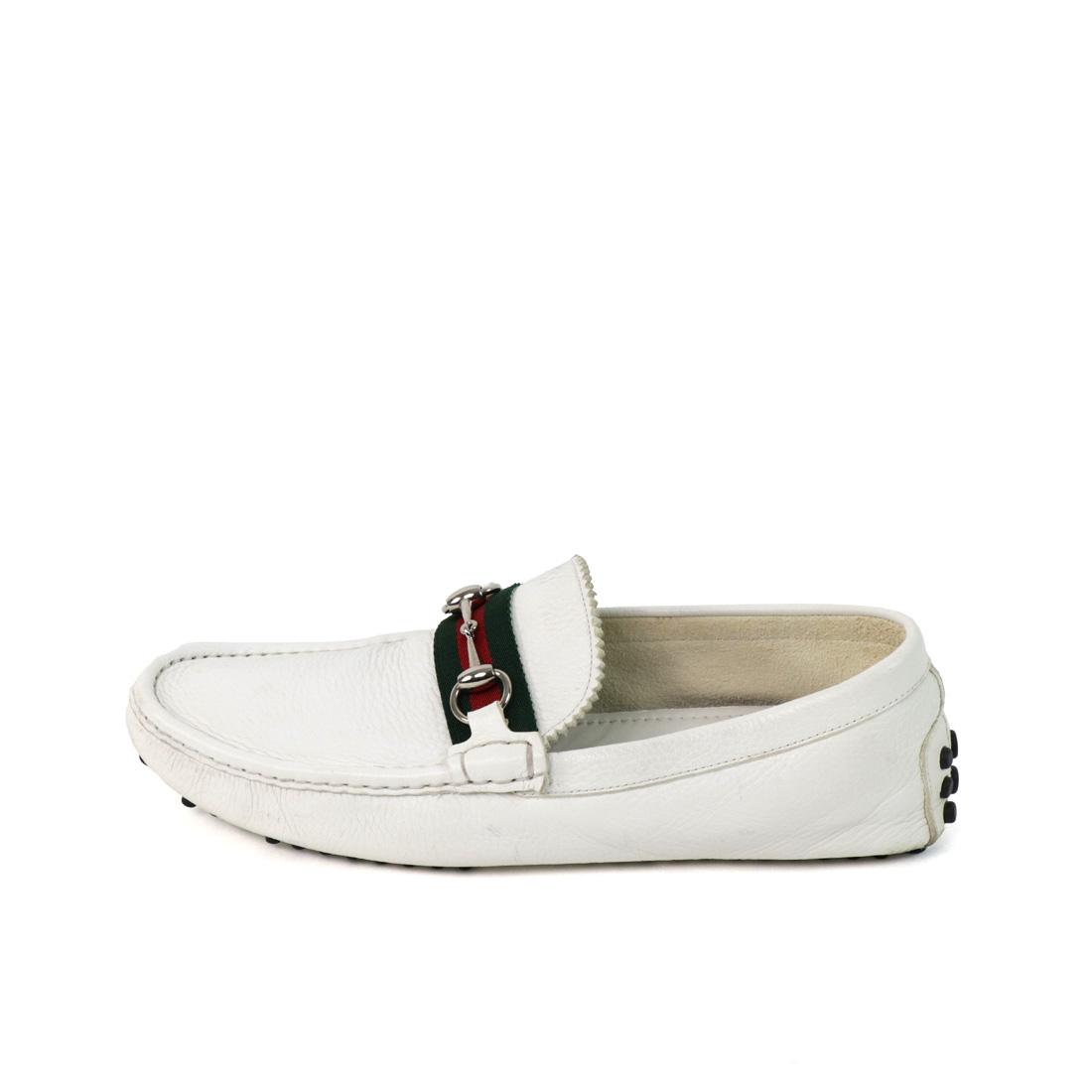 Gucci Men's White Leather Horsebit